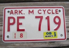 Arkansas Motorcycle License Plate 2008