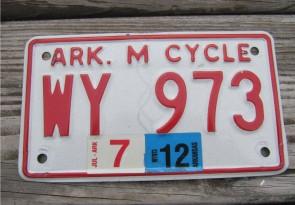Arkansas Motorcycle License Plate 2012