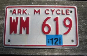 Arkansas Motorcycle License Plate Red White 2012