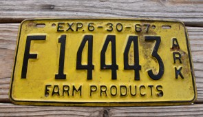 Arkansas Farm Products License Plate 1967
