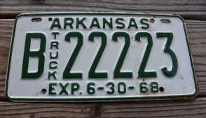 Arkansas Truck License Plate 1968