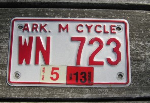 Arkansas Motorcycle License Plate Red White 2013