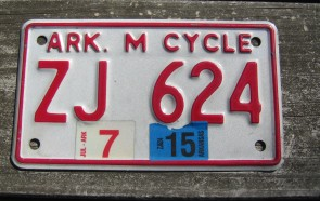 Arkansas Motorcycle License Plate Red White 2015