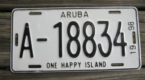 Aruba One Happy Island License Plate 1998