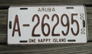 Aruba One Happy Island License Plate 2000