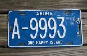 Aruba One Happy Island License Plate 1994
