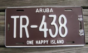 Aruba One Happy Island License Plate 1993