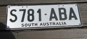 Australia License Plate South Australia Black White