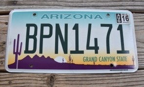 Arizona Sunset Cactus License Plate Grand Canyon State 2016 BPN 1471