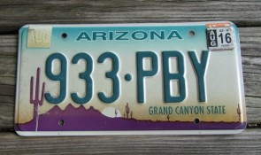 Arizona Sunset Cactus Embossed License Plate Grand Canyon State 2016