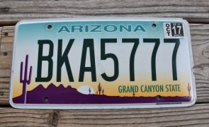 Arizona Sunset Cactus License Plate Grand Canyon State 2017 BKA 5777