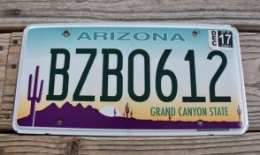 Arizona Sunset Cactus License Plate Grand Canyon State 2017 BZB 0612