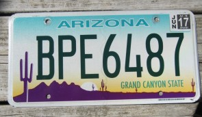 Arizona Sunset Cactus License Plate Grand Canyon State