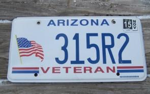 Arizona Veteran American Flag License Plate 2015