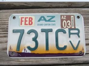Arizona ATV License Plate Sunset Cactus Grand Canyon State