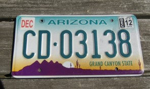 Arizona Sunset Cactus Embossed License Plate Grand Canyon State 2012