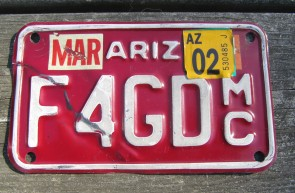Arizona Motorcycle License Plate Red White 2002