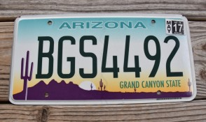 Arizona Sunset Cactus License Plate Grand Canyon State 2017 BGS 4492