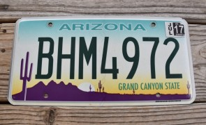 Arizona Sunset Cactus License Plate Grand Canyon State 2017 BHM 4972