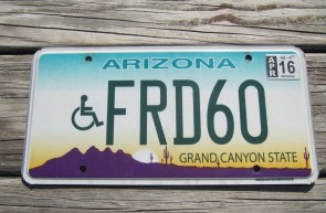 Arizona Sunset Cactus Handicapped License Plate Grand Canyon State 2016