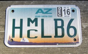 Arizona Motorcycle License Plate Sunset Cactus 2016