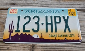 Arizona Sunset Cactus Embossed License Plate Grand Canyon State 2002