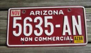 Arizona Grand Canyon State Red White License Plate 1986