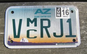 Arizona Motorcycle License Plate Sunset Cactus 2016