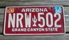 Arizona Grand Canyon State Red White License Plate 2004