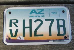 Arizona Recreational Vehicle License Plate Sunset Cactus Motorcycle Sized