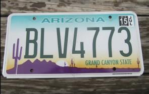 Arizona Sunset Cactus License Plate Grand Canyon State 2015