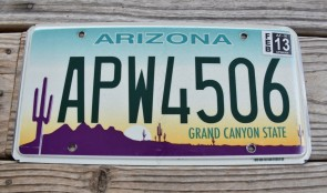 Arizona Sunset Cactus License Plate Grand Canyon State APW 4506