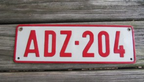 Belgium Red White License Plate