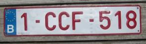 Belgium Red White Euroband License Plate 1 CCF 518