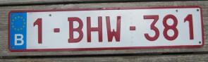Belgium Red White Euroband License Plate 1 BHW 381