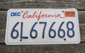California Lipstick License Plate 2003