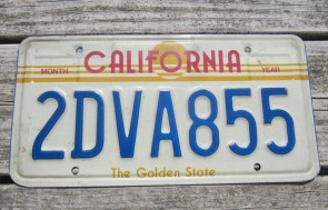 California Motorcycle License Plate Blue White 1987