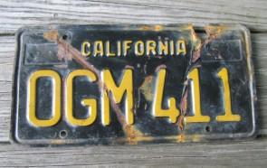 California Black Yellow License Plate 1963