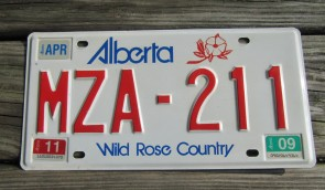 Alberta Canada Wild Rose Country License Plate 2009