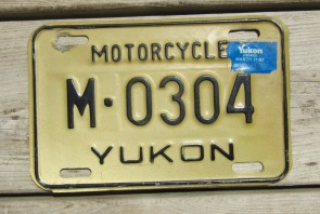 Canada Yukon Tan Black Motorcycle License Plate 1987