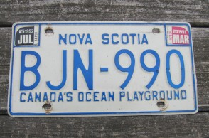 Canada Nova Scotia Blue White License Plate 1995