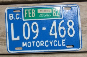 Canada British Columbia Blue White Motorcycle License Plate 1982