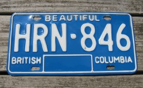 British Columbia Canada Blue White License Plate 1980's