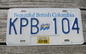 British Columbia Canada License Plate Beautiful 1999