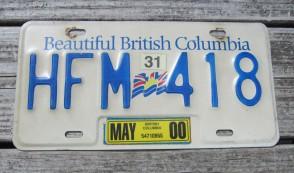 British Columbia Canada License Plate Beautiful 2000