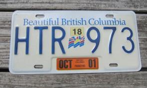 British Columbia Canada License Plate Beautiful 2001