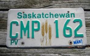 Saskatchewan Canada Wheat Grain License Plate 1997