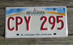 Canada New Brunswick Be in This Place License Plate 2013