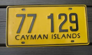 Cayman Islands Yellow Black License Plate 1990s