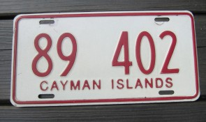 Cayman Islands Red White License Plate 1990s